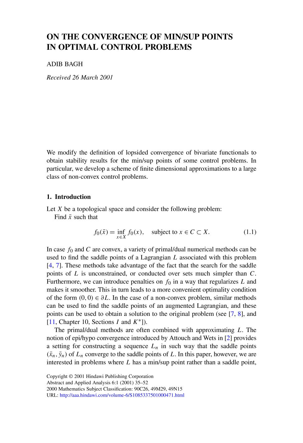 Portada del libro On the convergence of min/sup points in optimal control problems