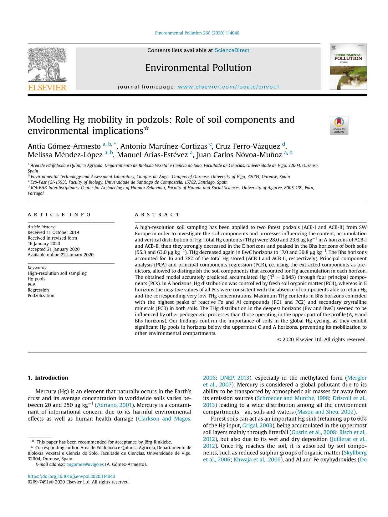Κάλυψη βιβλίων Modelling Hg mobility in podzols: Role of soil components and environmental implications