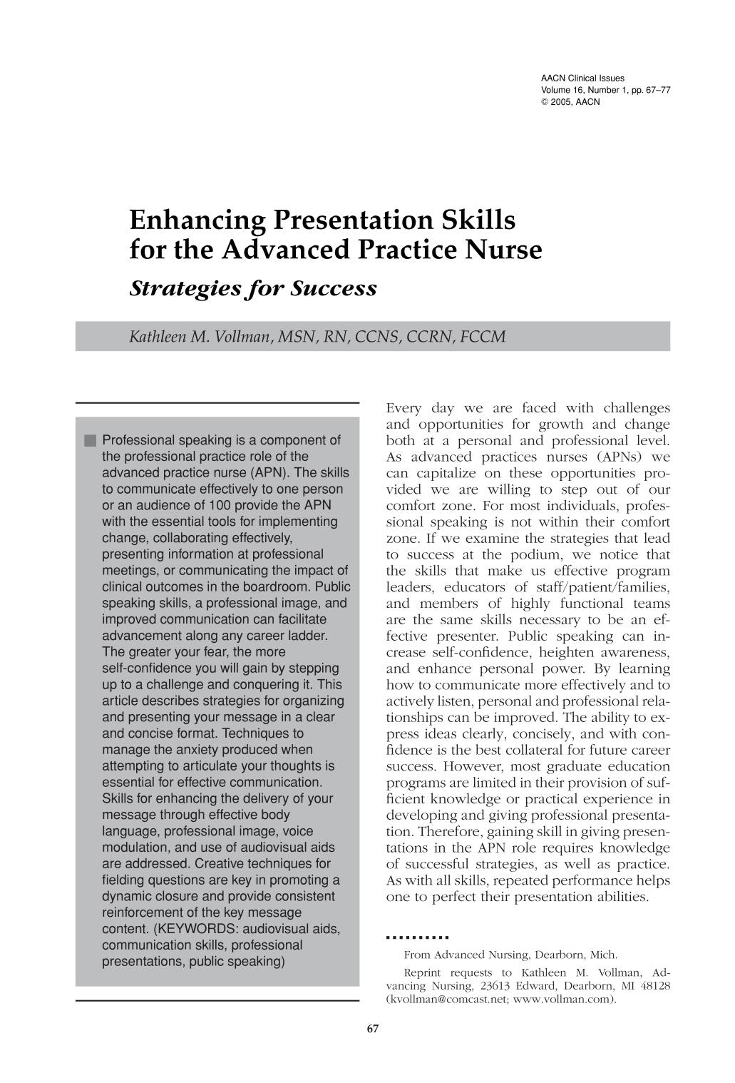 کتاب کی کور جلد Enhancing Presentation Skills for the Advanced Practice Nurse