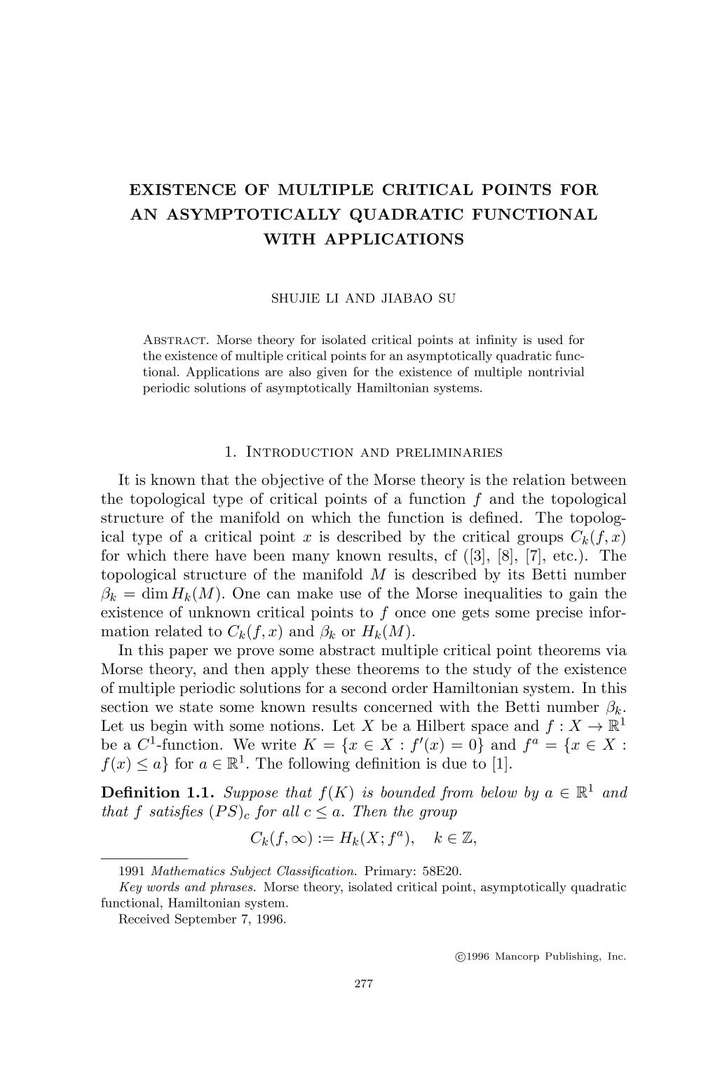 غلاف الكتاب Existence of multiple critical points for an asymptotically quadratic functional with applications