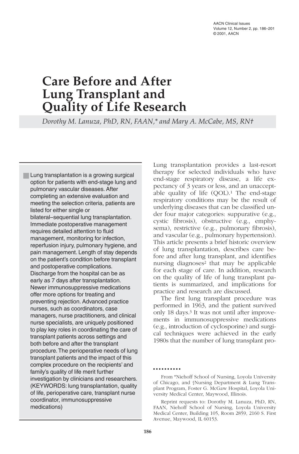 Book cover Care Before and After Lung Transplant and Quality of Life Research