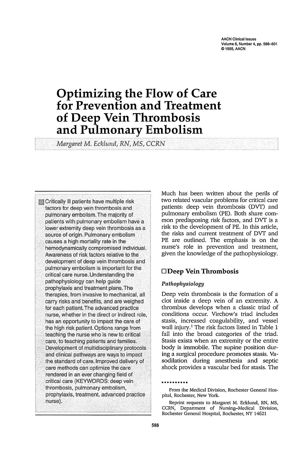 Book cover Optimizing the Flow of Care for Prevention and Treatment of Deep Vein Thrombosis and Pulmonary Embolism
