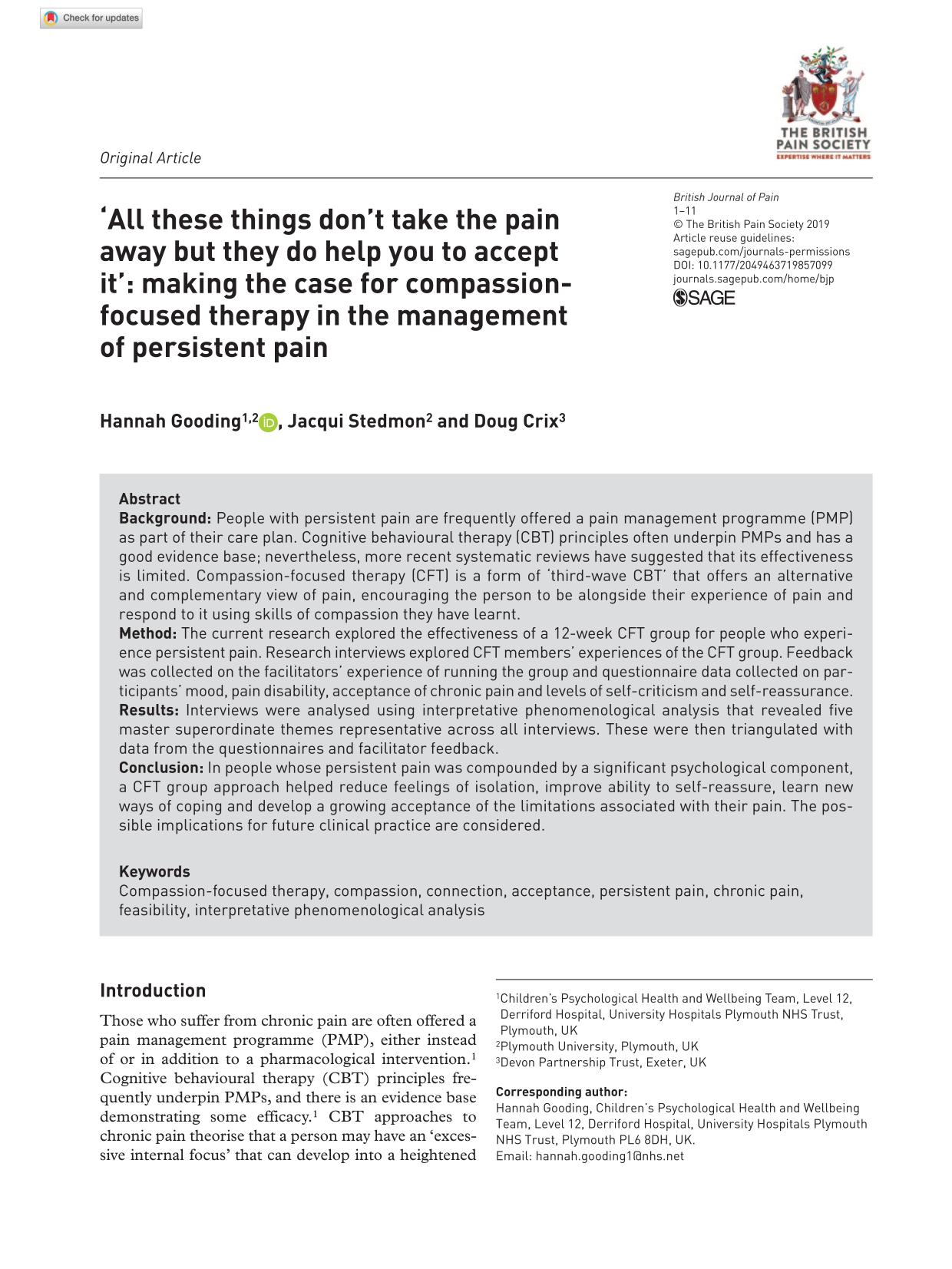 Portada del libro 'All these things don't take the pain away but they do help you to accept it': making the case for compassion-focused therapy in the management of persistent pain