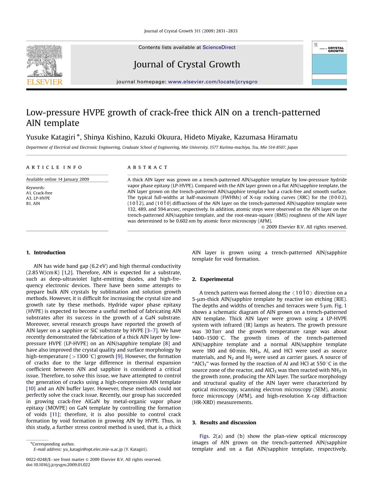 Book cover Low-pressure HVPE growth of crack-free thick AlN on a trench-patterned AlN template