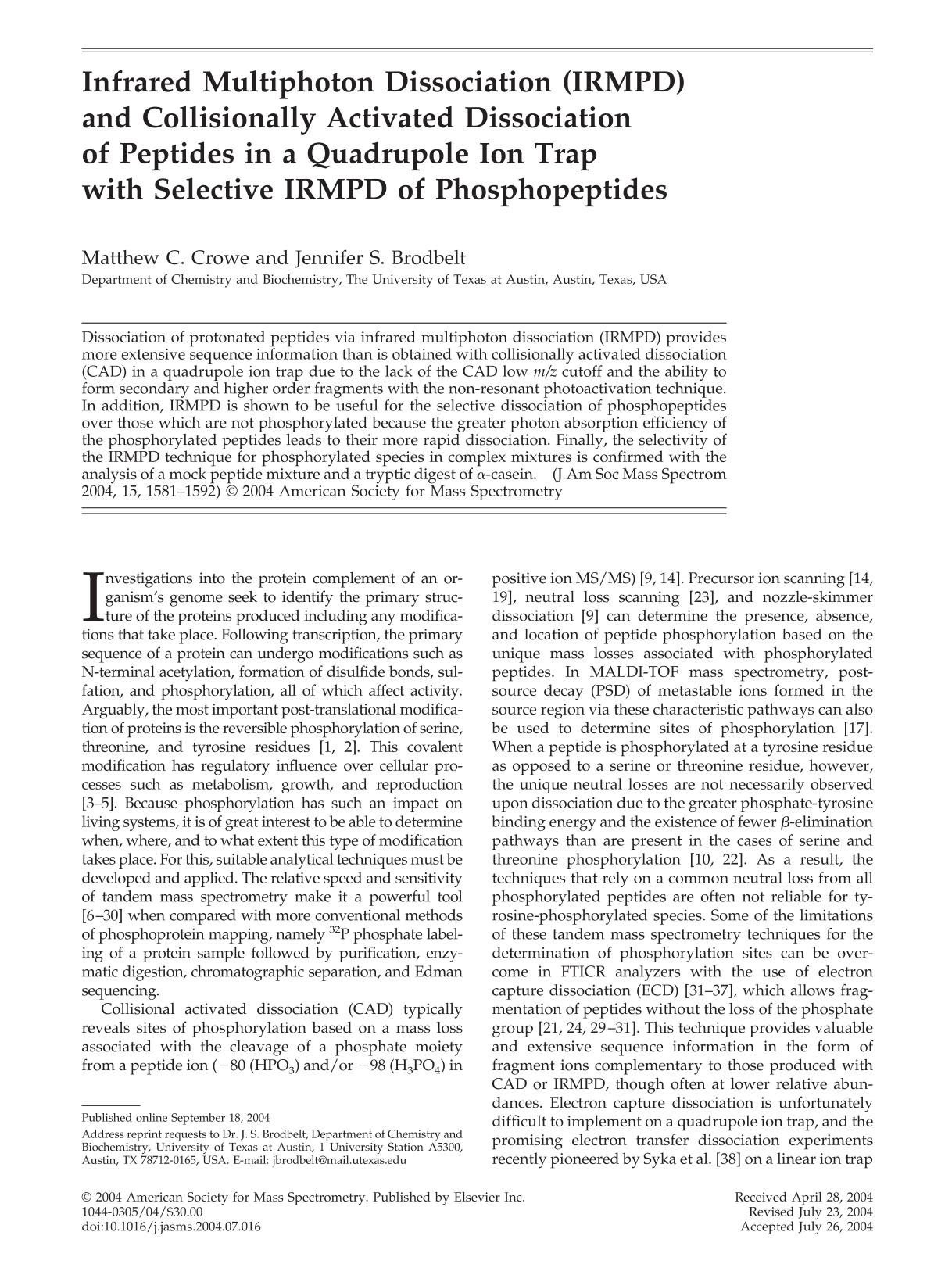 หน้าปก Infrared multiphoton dissociation (IRMPD) and collisionally activated dissociationof peptides in a quadrupole ion trapwith selective IRMPD of phosphopeptides