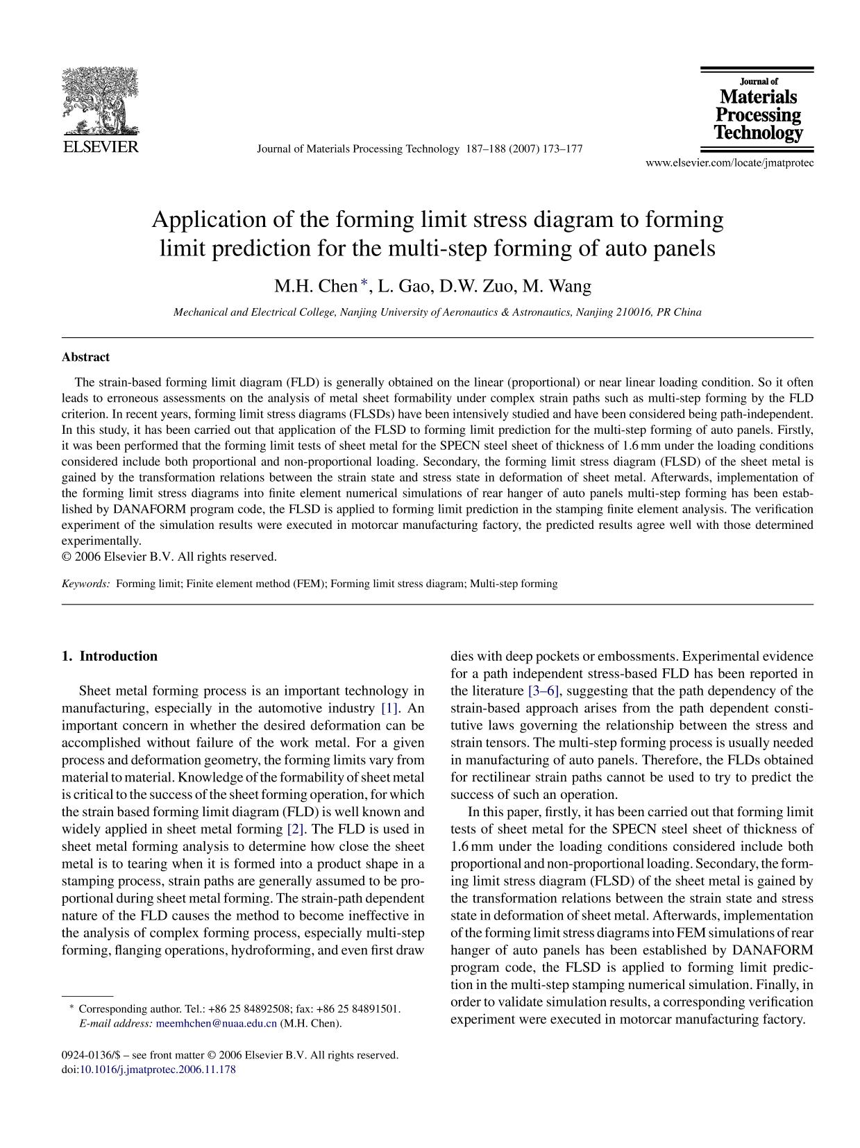 Kover buku Application of the forming limit stress diagram to forming limit prediction for the multi-step forming of auto panels