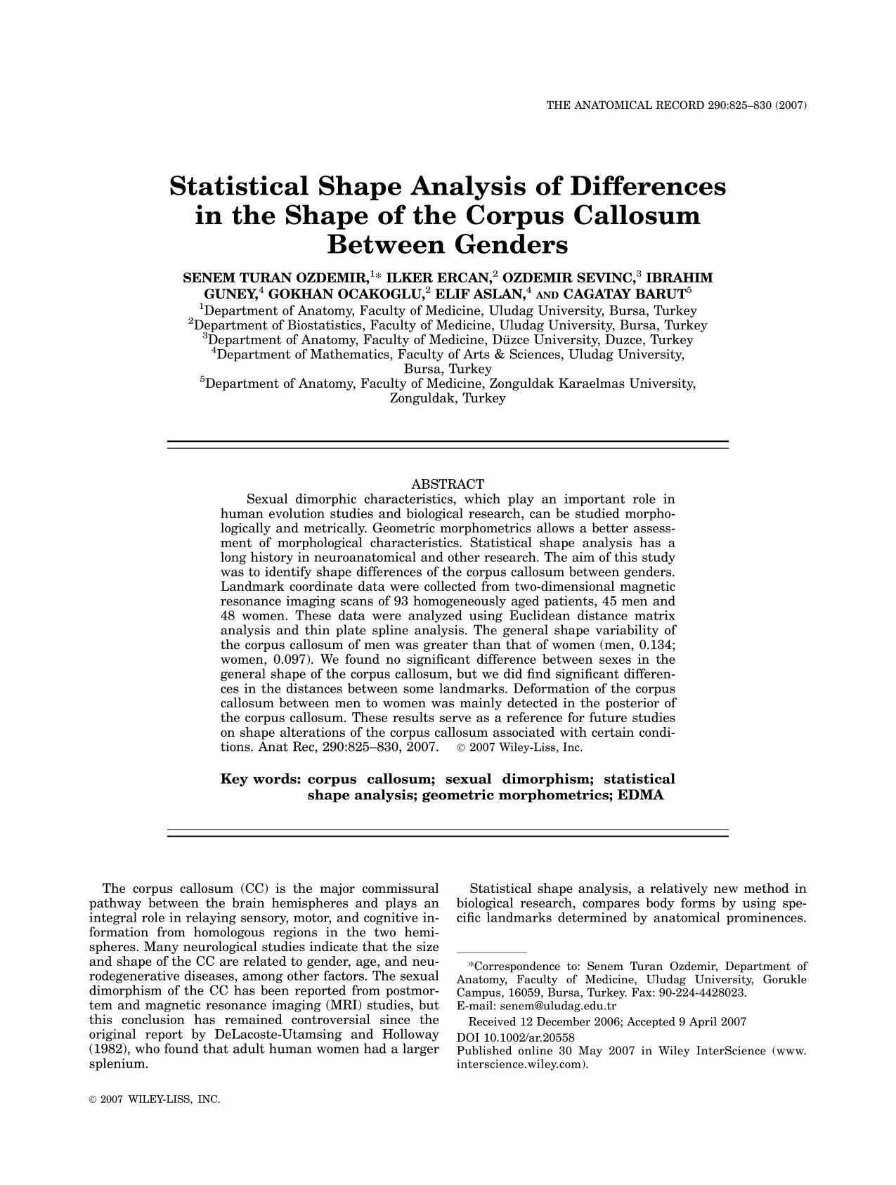 Book cover Statistical Shape Analysis of Differences in the Shape of the Corpus Callosum Between Genders