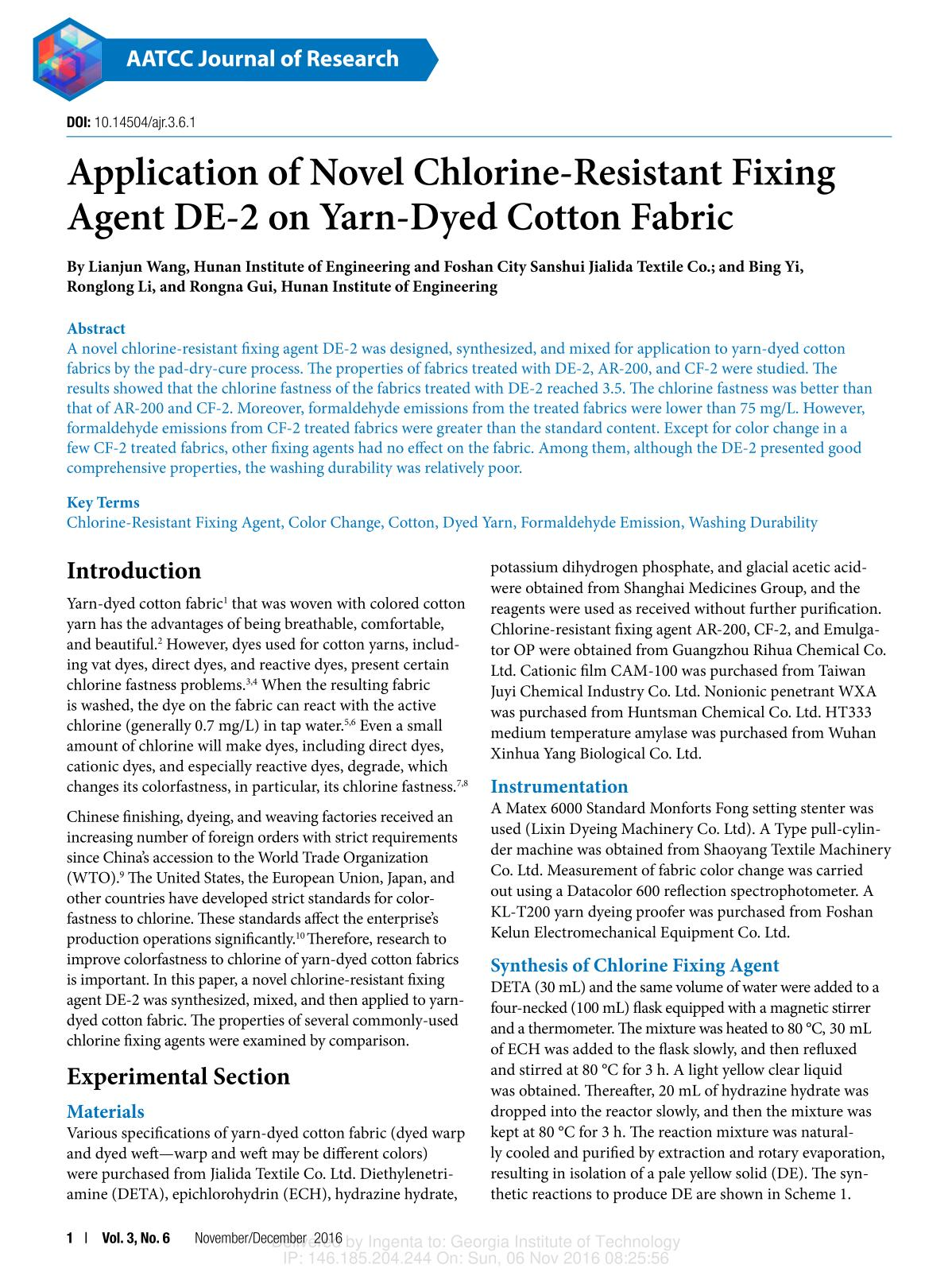 पुस्तक आवरण Application of Novel Chlorine-Resistant Fixing Agent DE-2 on Yarn-Dyed Cotton Fabric
