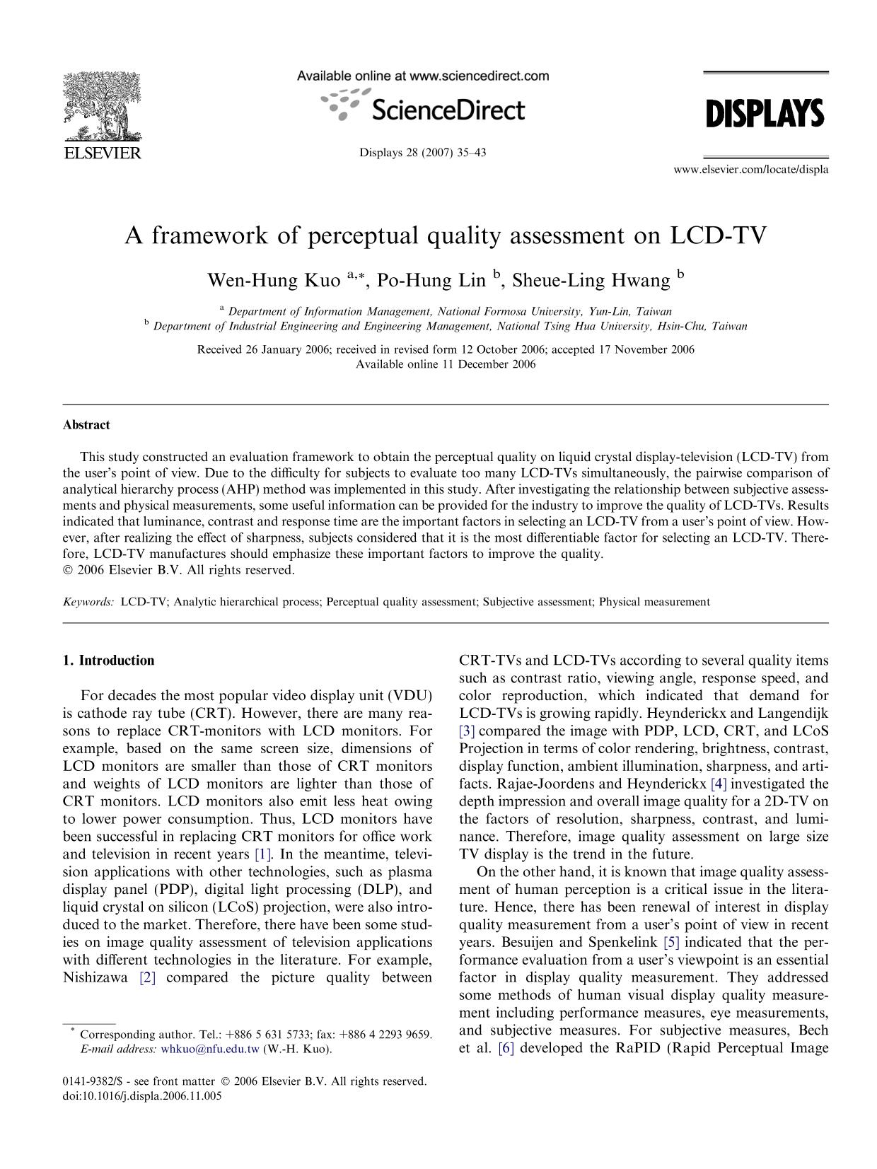 Copertina del libro A framework of perceptual quality assessment on LCD-TV