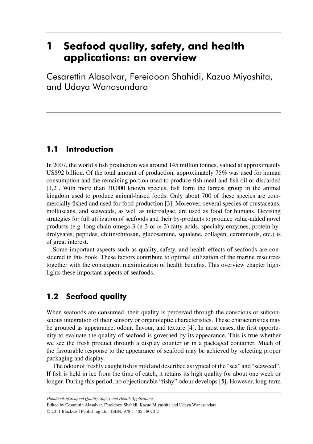Portada del libro Handbook of Seafood Quality, Safety and Health Applications (Alasalvar/Handbook of Seafood Quality, Safety and Health Applications)    Seafood Quality, Safety, and Health Applications: An Overview