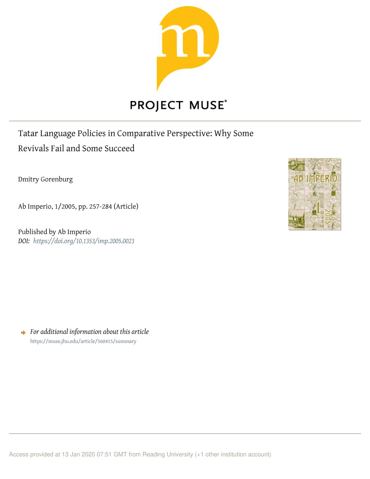 หน้าปก Tatar Language Policies in Comparative Perspective: Why Some Revivals Fail and Some Succeed