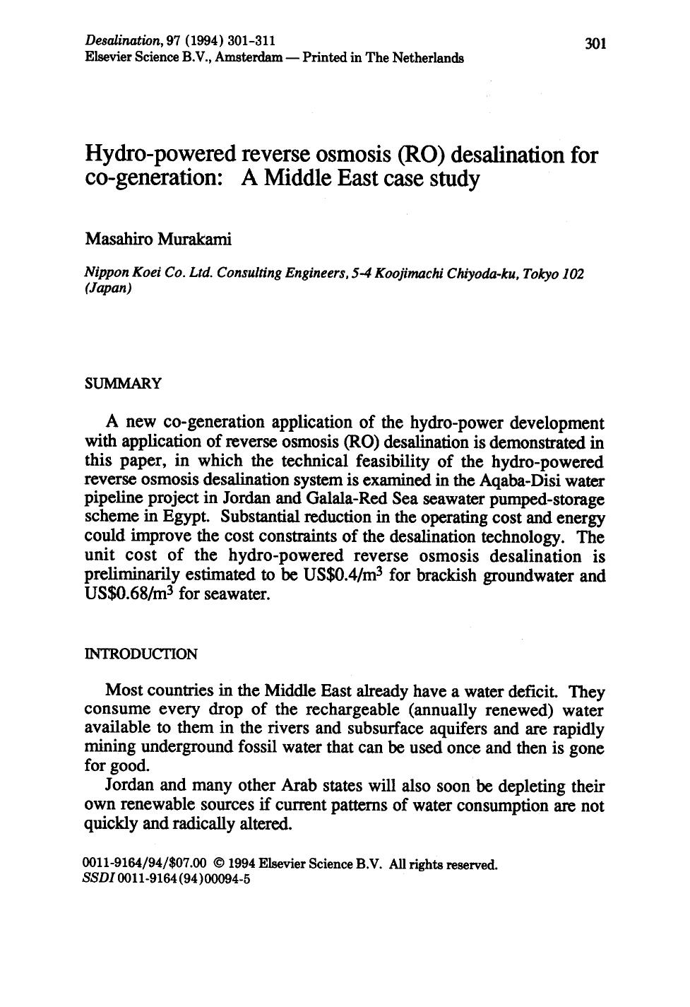 Couverture Hydro-powered reverse osmosis (RO) desalination for co-generation: A Middle East case study
