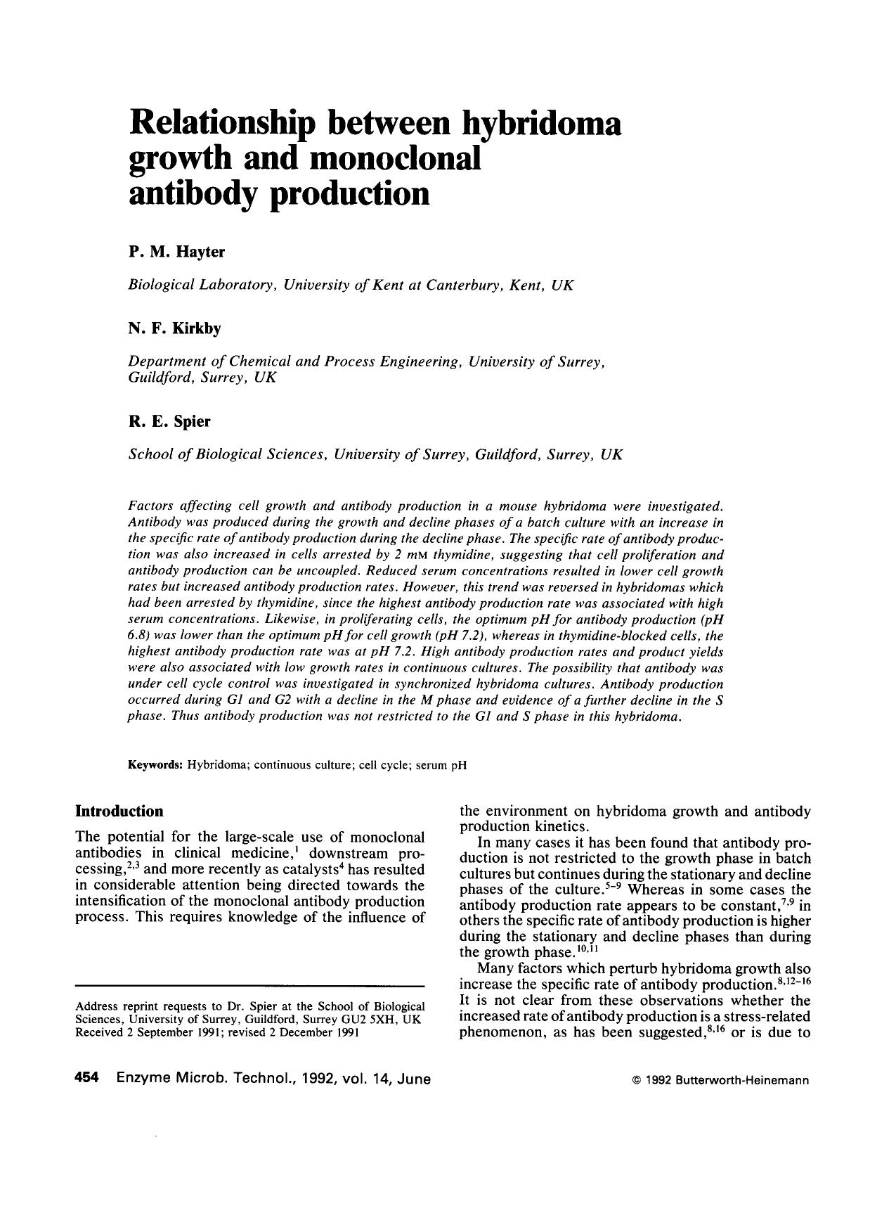 Portada del libro Relationship between hybridoma growth and monoclonal antibody production
