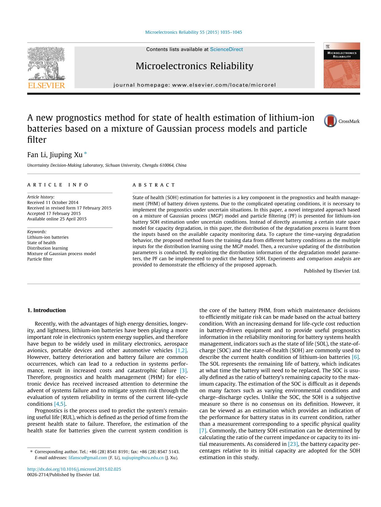 Okładka książki A new prognostics method for state of health estimation of lithium-ion batteries based on a mixture of Gaussian process models and particle filter