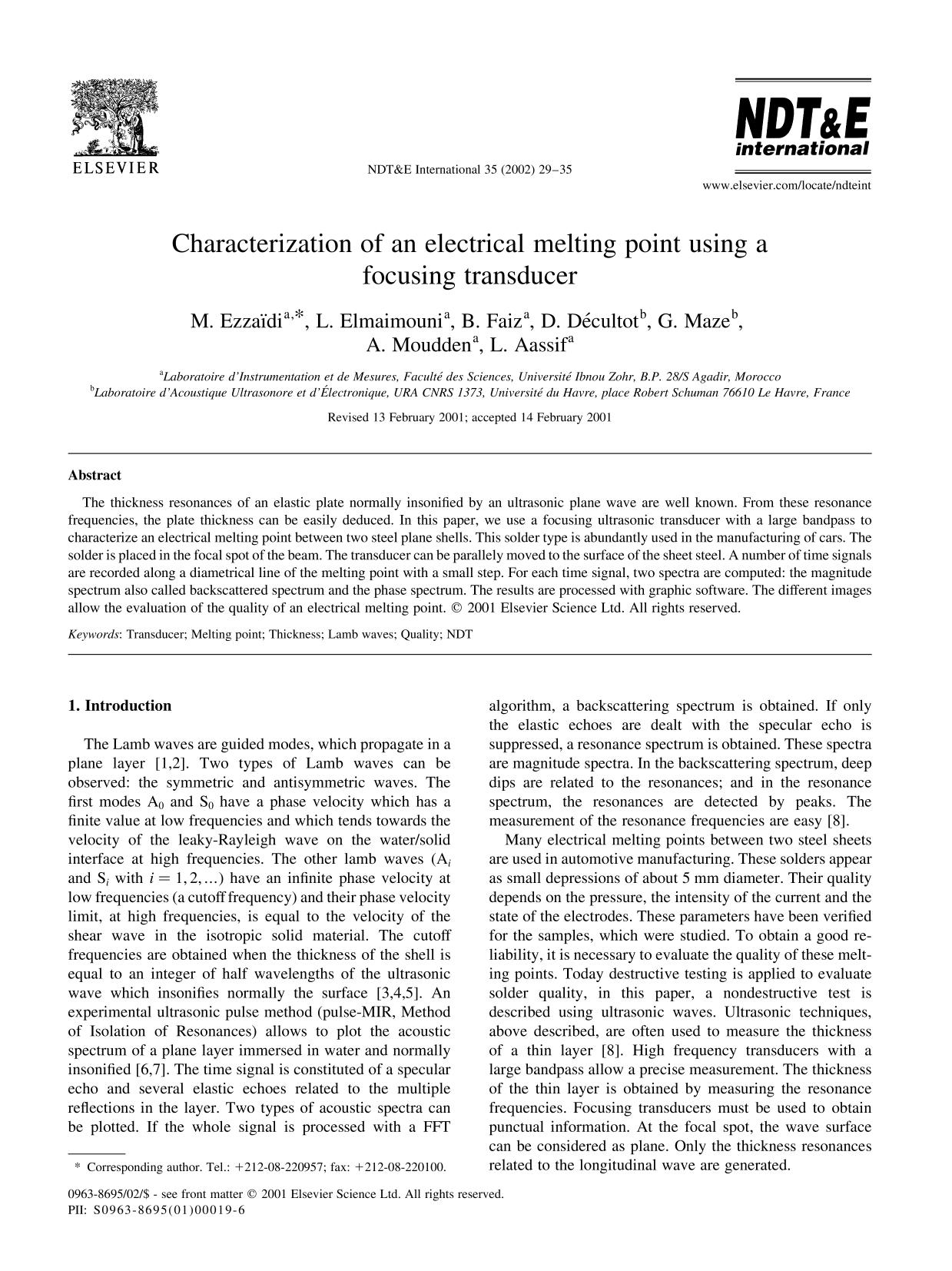 Обложка книги Characterization of an electrical melting point using a focusing transducer