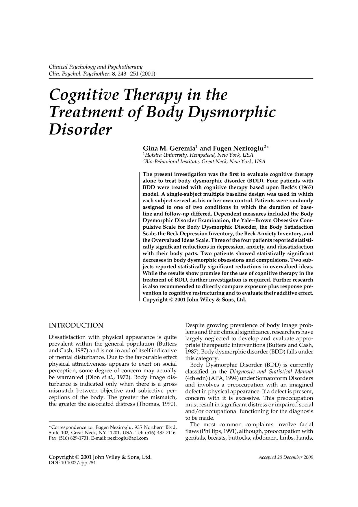 Copertina del libro Cognitive therapy in the treatment of body dysmorphic disorder