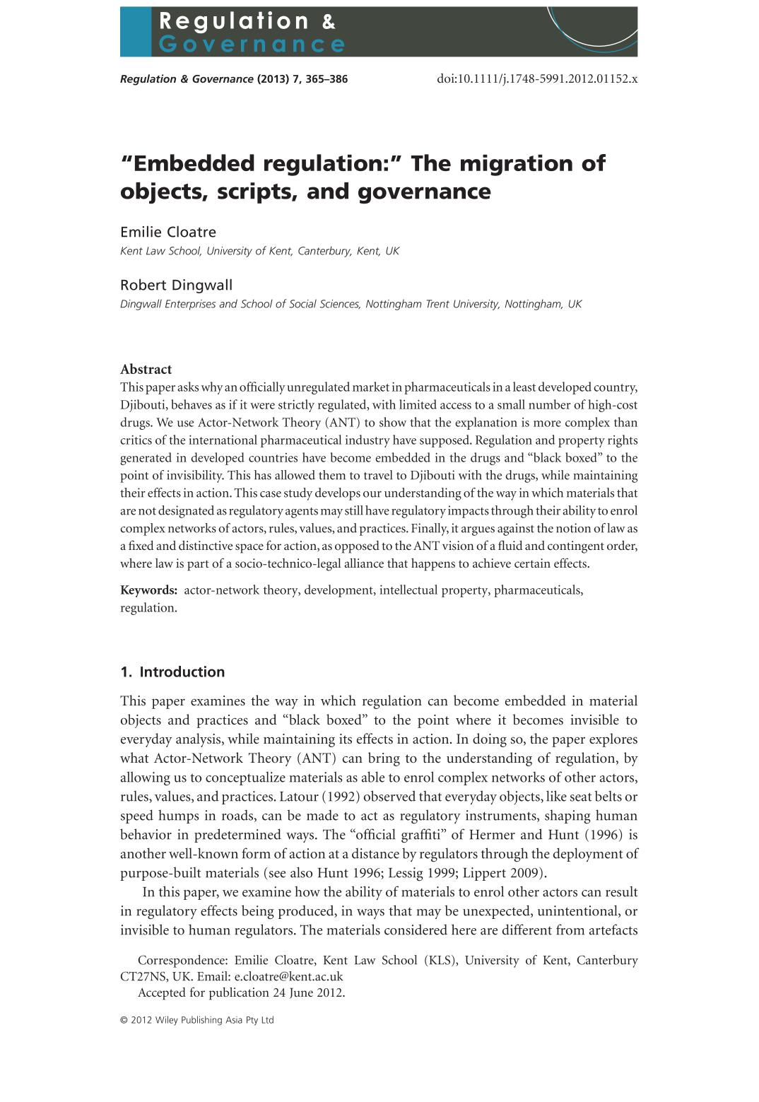"A capa do livro ""Embedded regulation:"" The migration of objects, scripts, and governance"