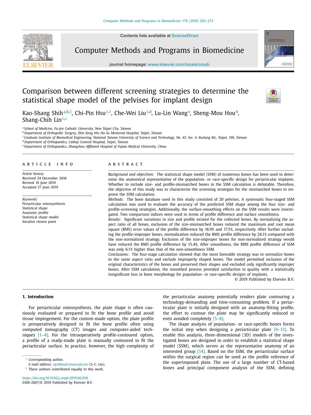 Book cover Comparison between different screening strategies to determine the statistical shape model of the pelvises for implant design