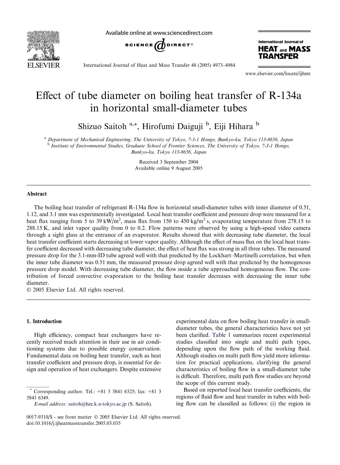 Portada del libro Effect of tube diameter on boiling heat transfer of R-134a in horizontal small-diameter tubes