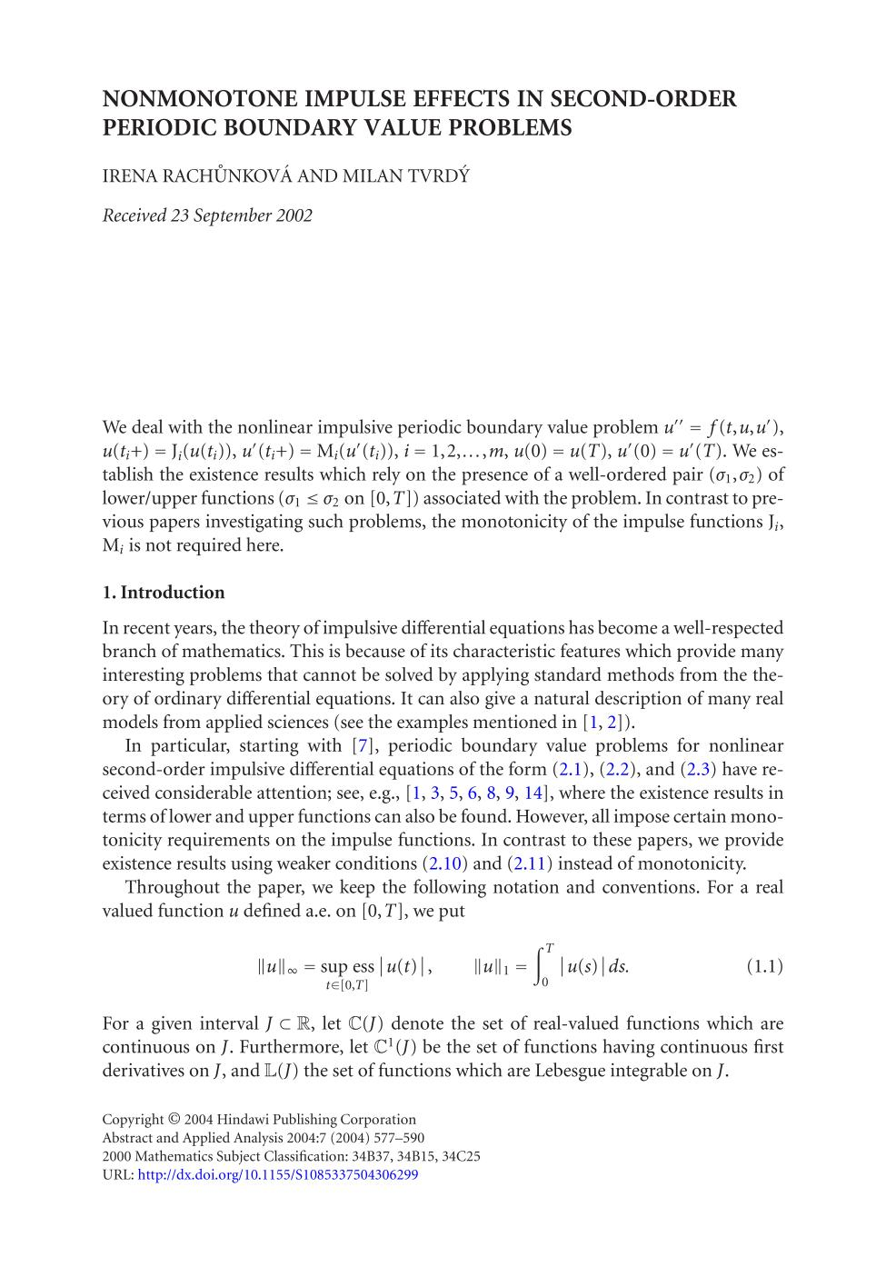 पुस्तक आवरण Nonmonotone impulse effects in second-order periodic boundary value problems