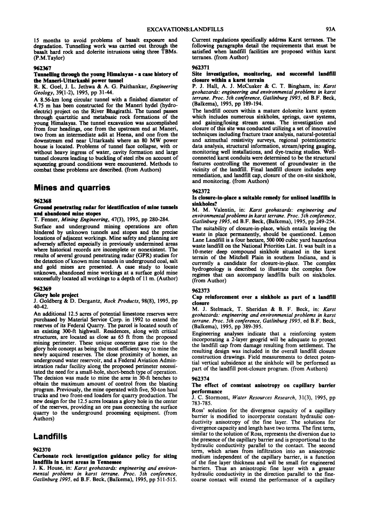 Обкладинка книги Is closure-in-place a suitable remedy for unlined landfills in sinkholes? : M. M. Valentin, in: Karst geohazards: engineering and environmental problems in karst terrane. Proc. 5th conference, Gatlinburg 1995, ed B.F. Beck, (Balkema), 1995, pp 249-254