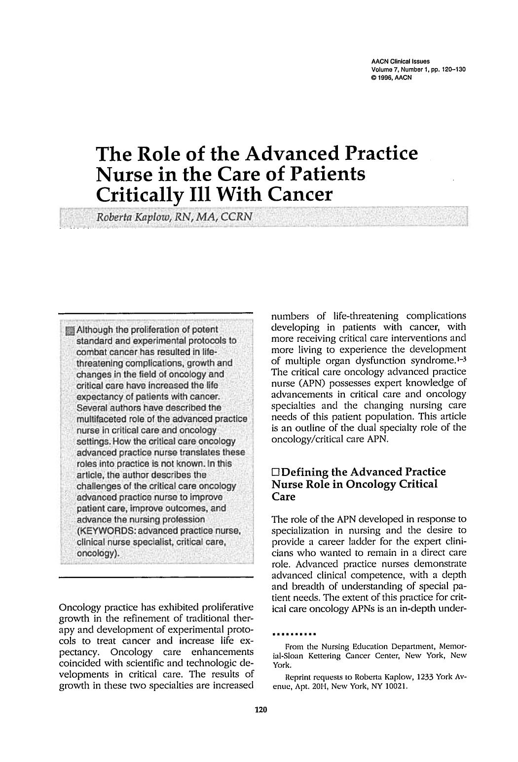 Kover buku The Role of the Advanced Practice Nurse in the Care of Patients Critically Ill With Cancer