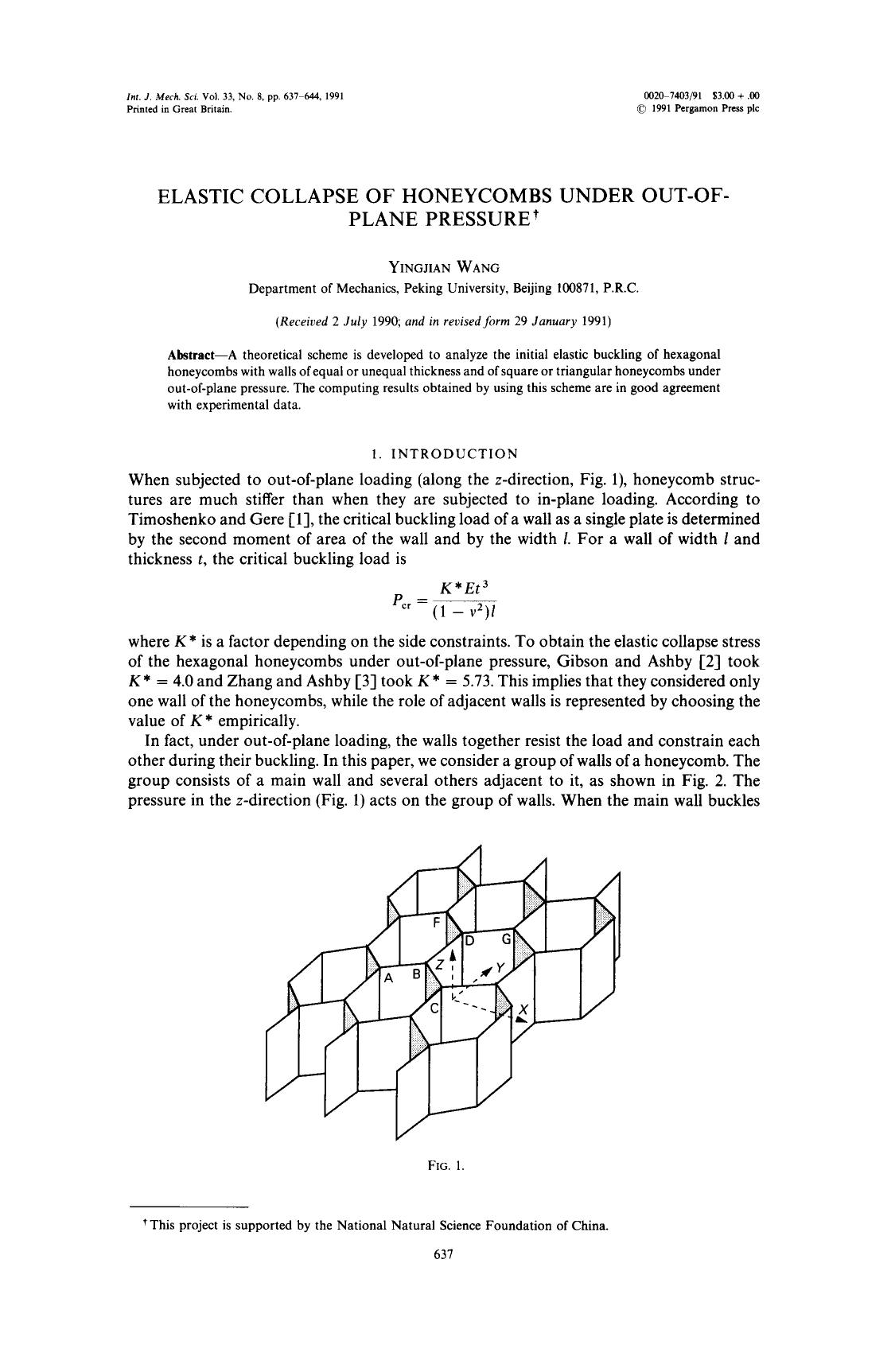 書籍の表紙 Elastic collapse of honeycombs under out-of-plane pressure
