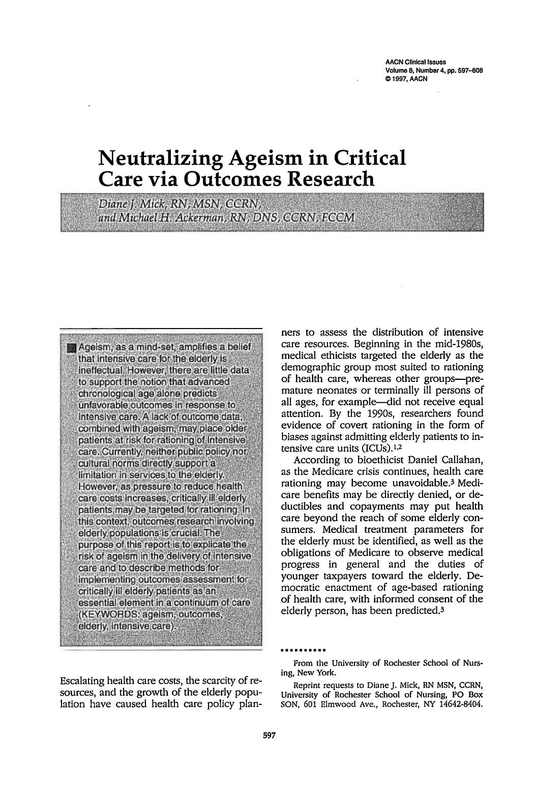 Κάλυψη βιβλίων Neutralizing Ageism in Critical Care via Outcomes Research
