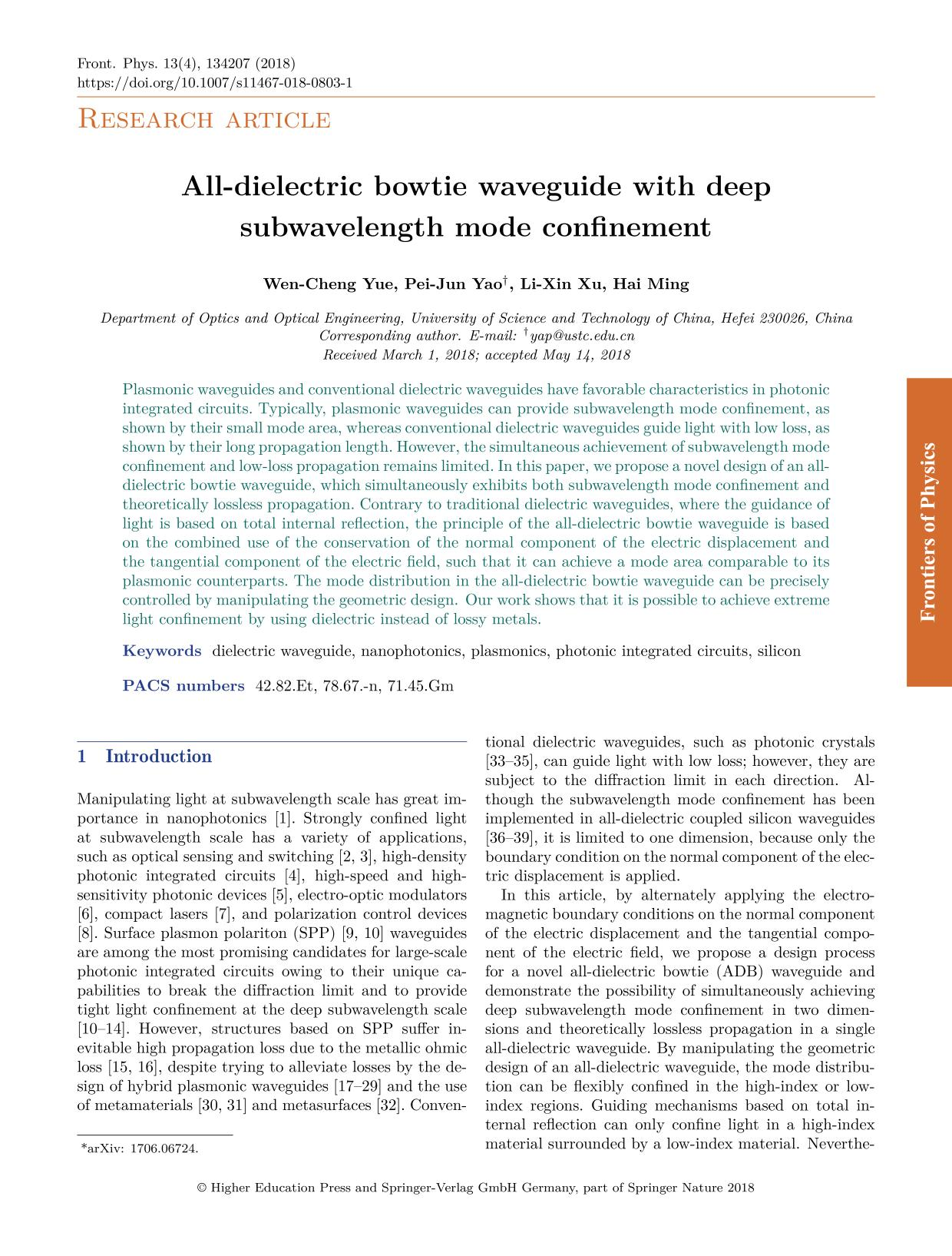 Portada del libro All-dielectric bowtie waveguide with deep subwavelength mode confinement