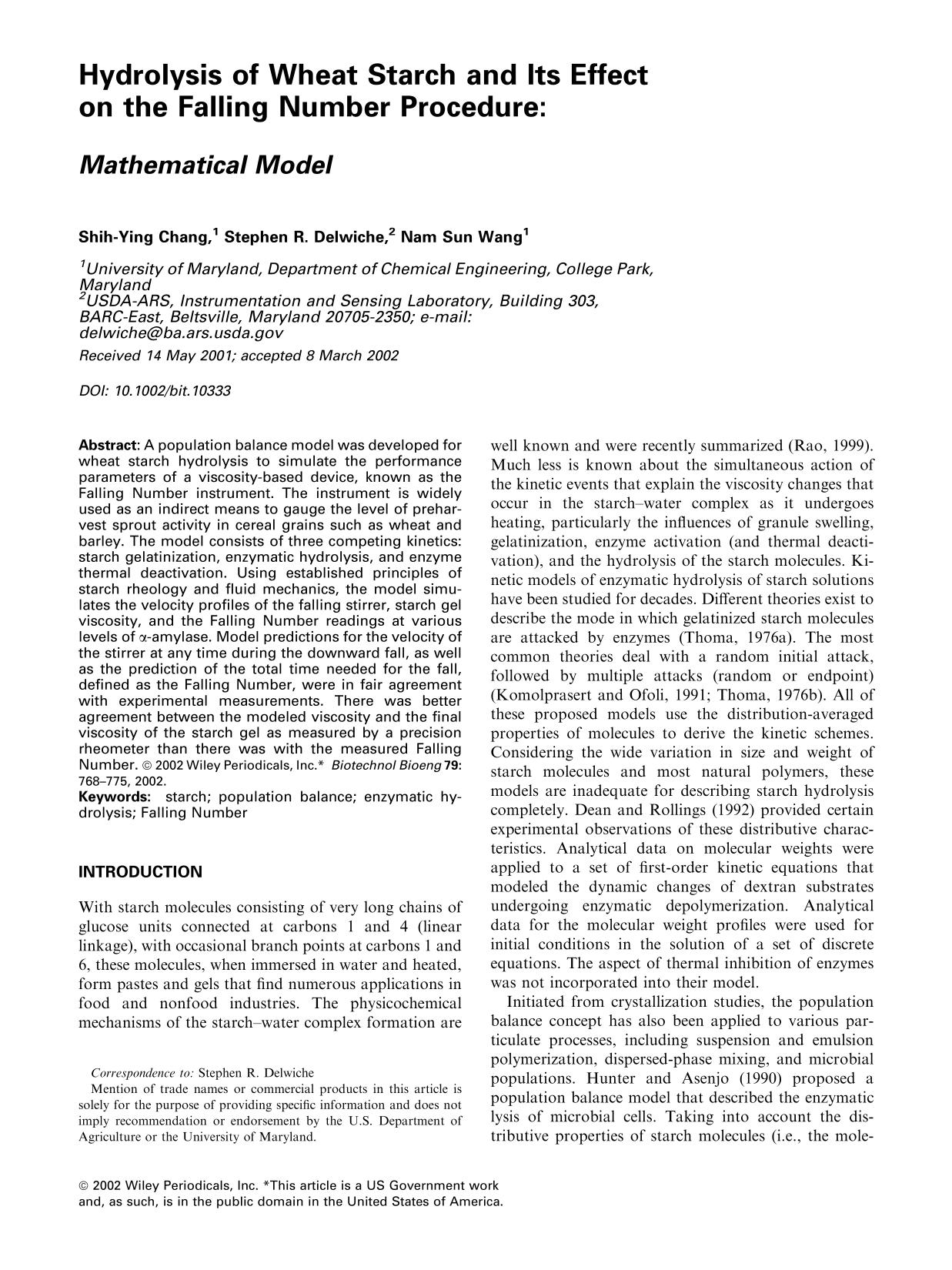 Portada del libro Hydrolysis of wheat starch and its effect on the Falling Number procedure: <em>Mathematical model</em>