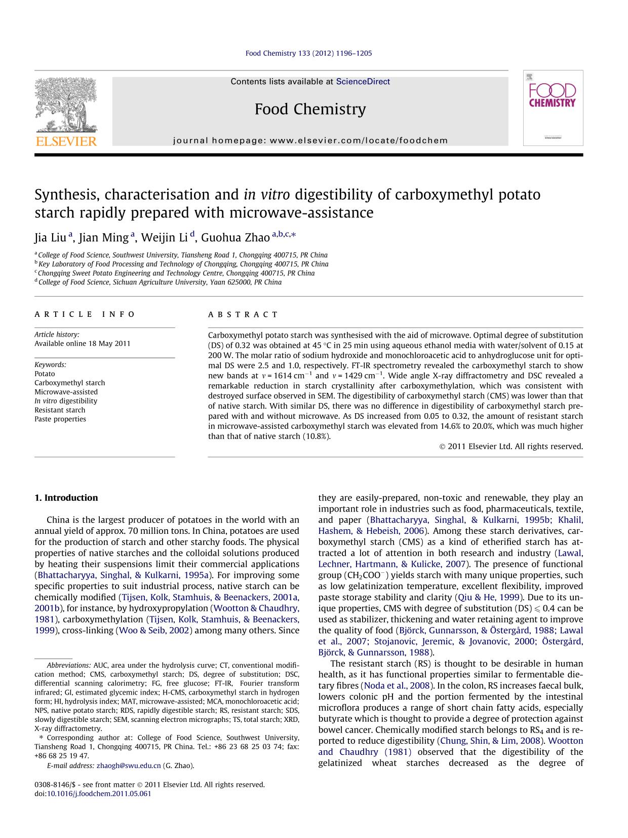 Portada del libro Synthesis, characterisation and in vitro digestibility of carboxymethyl potato starch rapidly prepared with microwave-assistance