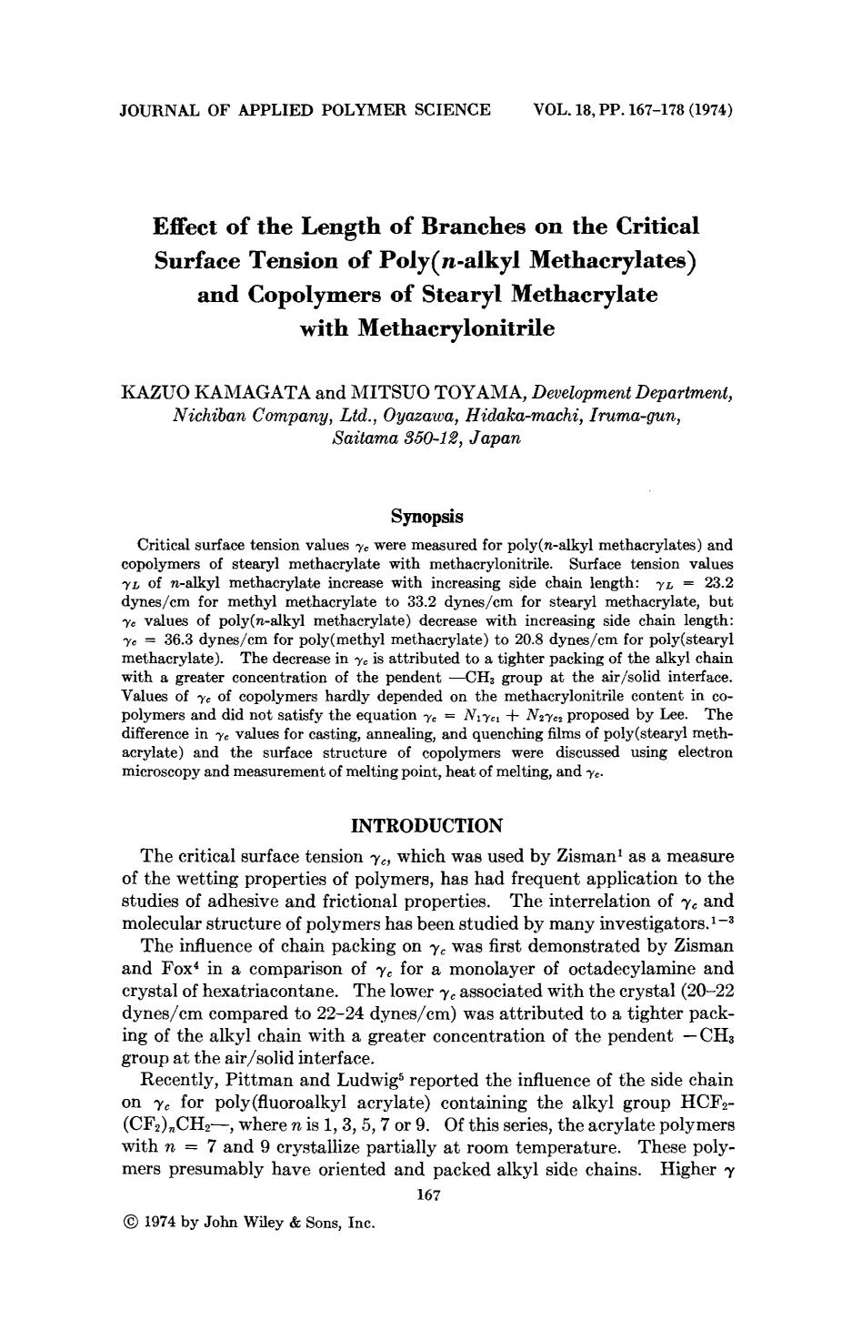 पुस्तक कवर Effect of the length of branches on the critical surface tension of poly(<em>n</em>-alkyl methacrylates) and copolymers of stearyl methacrylate with methacrylonitrile