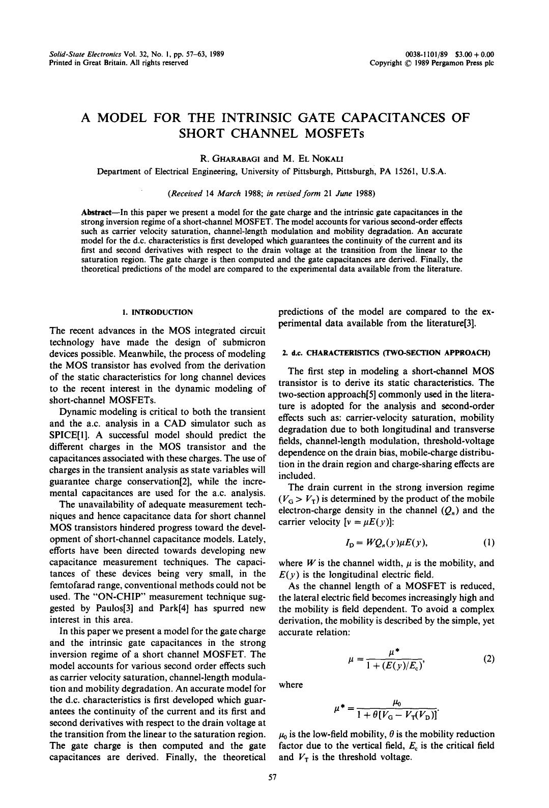 A capa do livro A model for the intrinsic gate capacitances of short channel MOSFETs