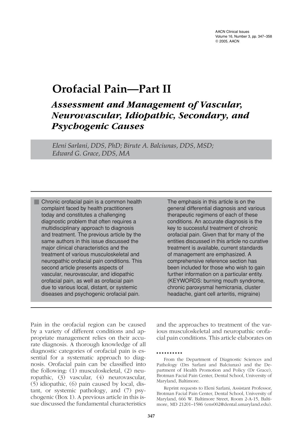 Book cover Orofacial Pain—Part II