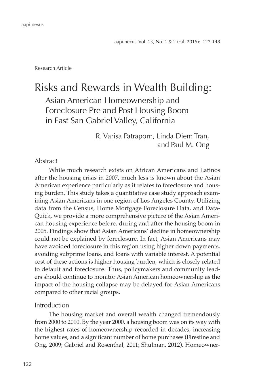 Couverture du livre Risks and Rewards in Wealth Building: Asian American Homeownership and Foreclosure Pre and Post Housing Boom in East San Gabriel Valley, California