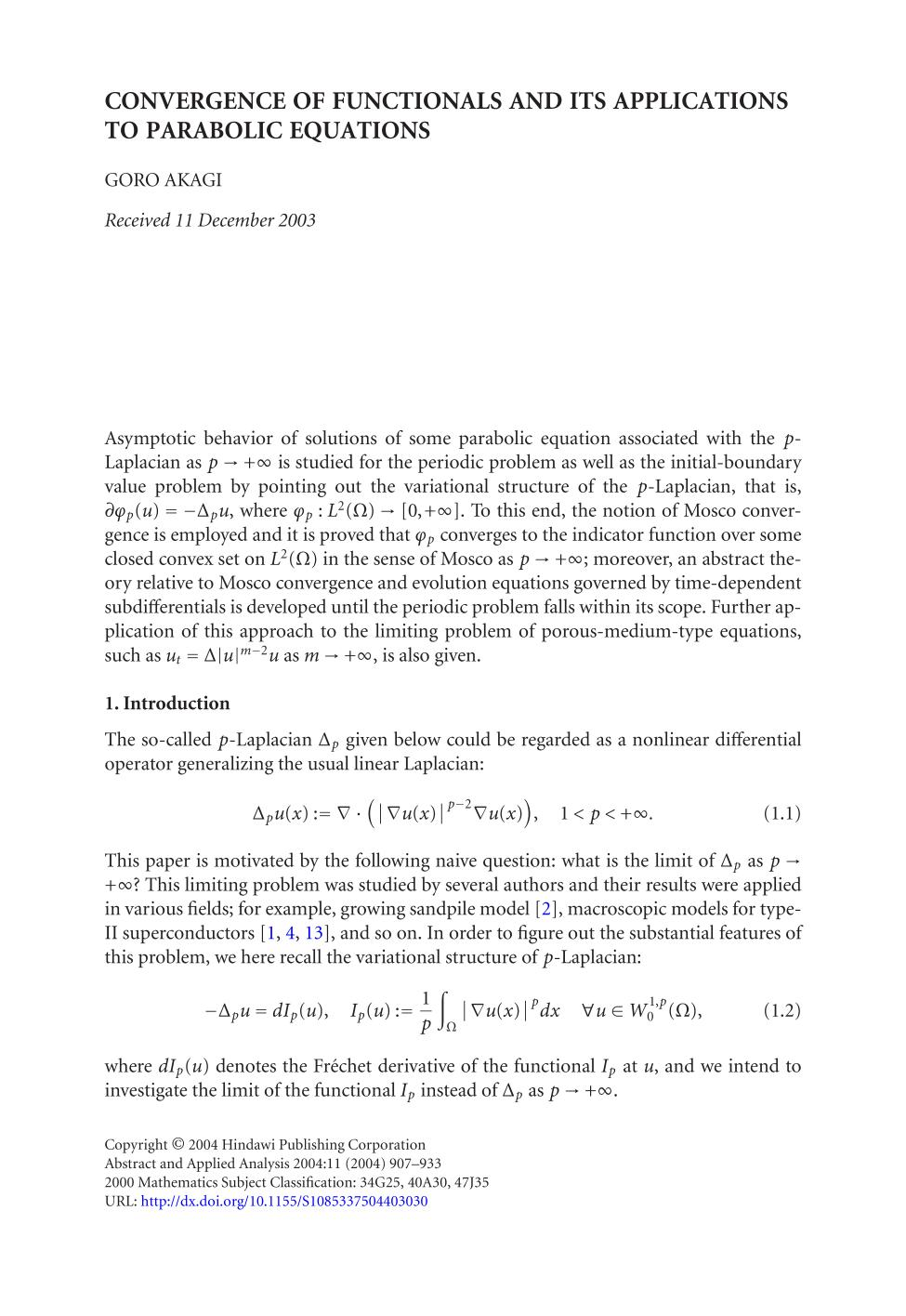Portada del libro Convergence of functionals and its applications to parabolic equations
