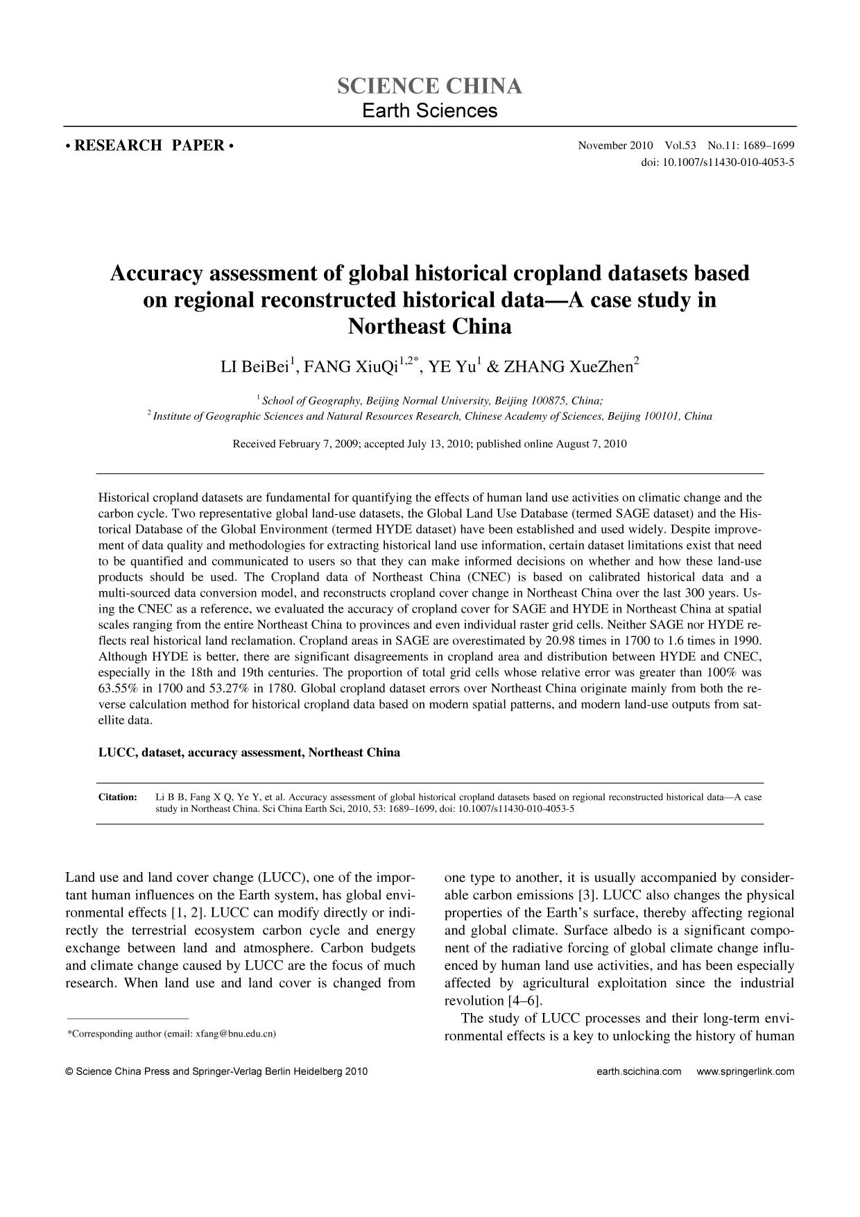 Portada del libro Accuracy assessment of global historical cropland datasets based on regional reconstructed historical data—A case study in Northeast China