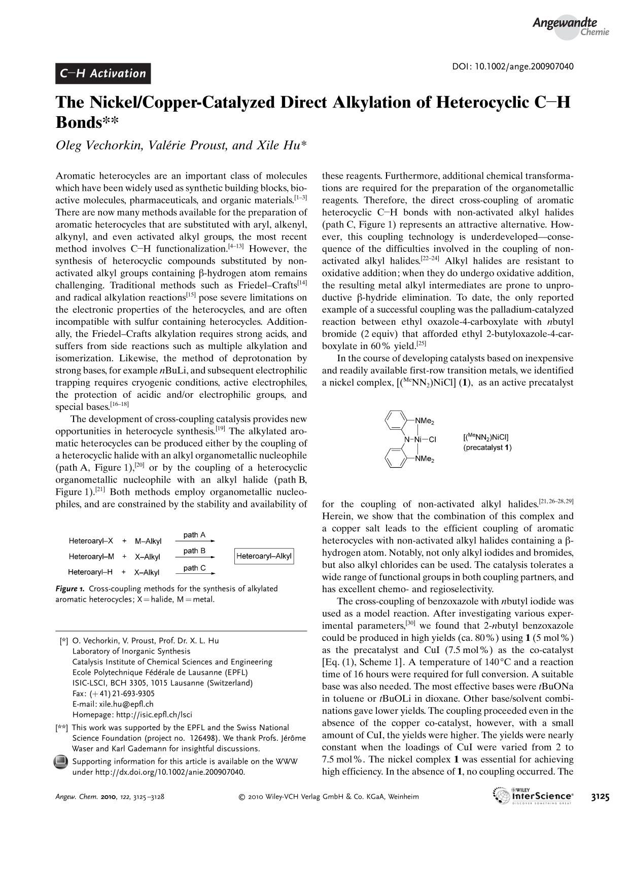 "書籍の表紙 The Nickel/Copper-Catalyzed Direct Alkylation of Heterocyclic C<img src=""http://onlinelibrarystatic.wiley.com/undisplayable_characters/00f8ff.gif"" alt=""[BOND]"">H Bonds"