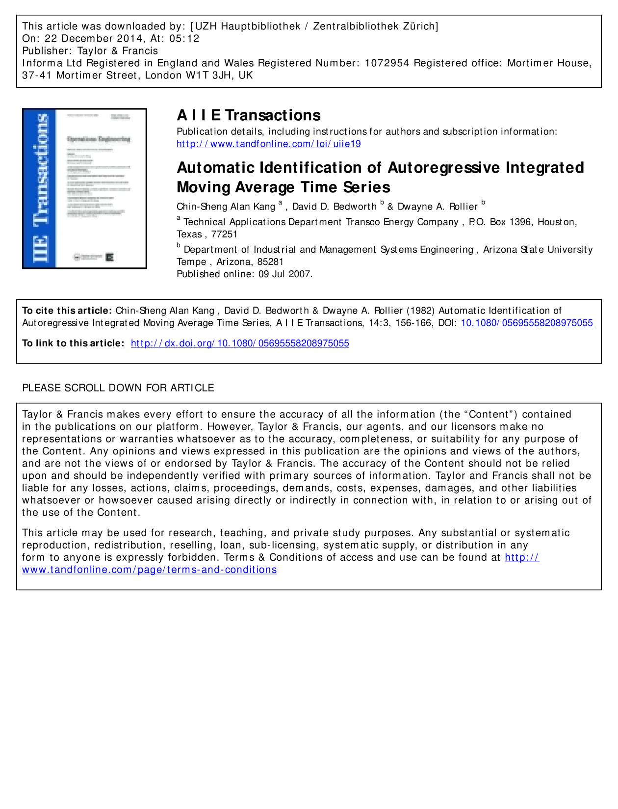 Couverture Automatic Identification of Autoregressive Integrated Moving Average Time Series