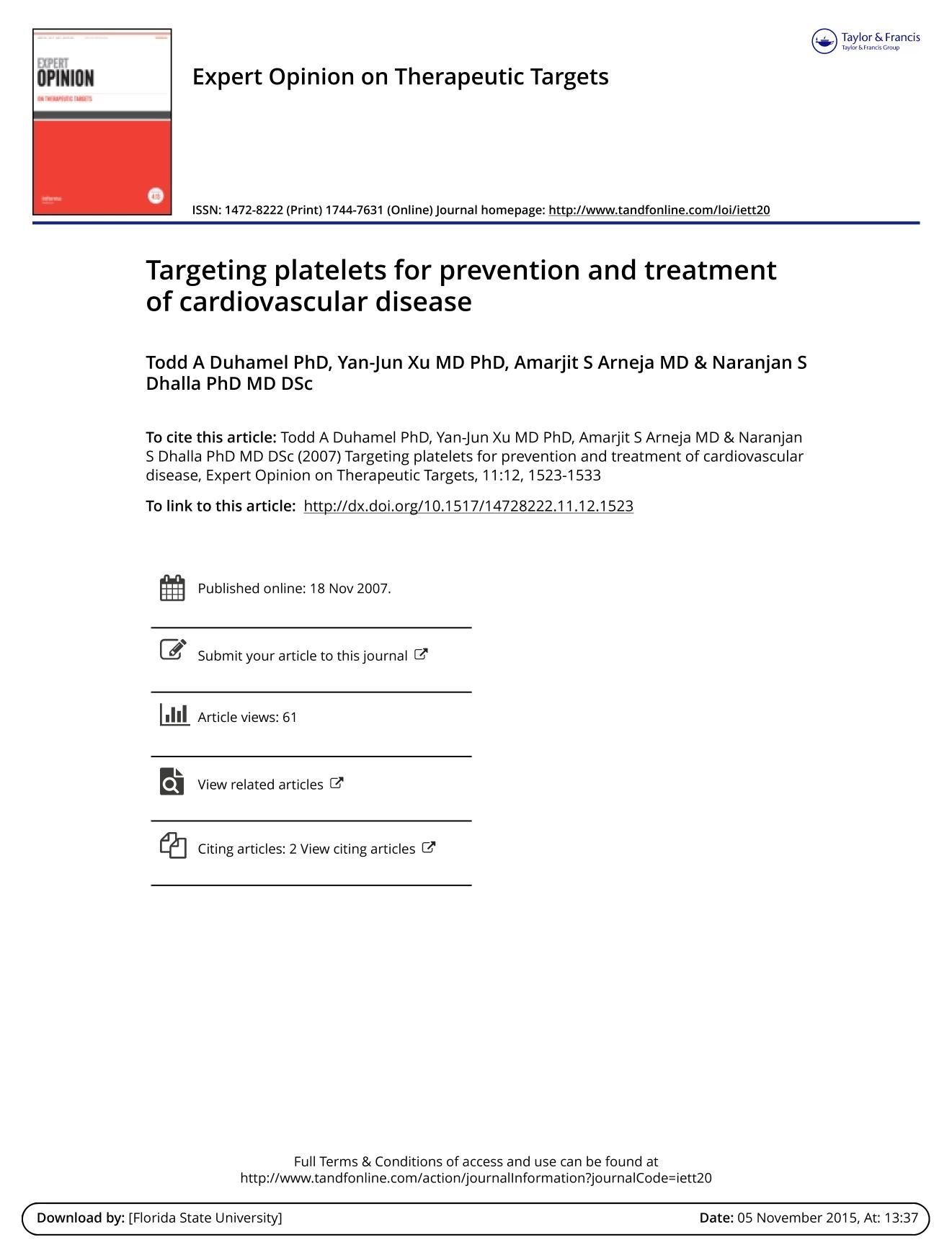 หน้าปก Targeting platelets for prevention and treatment of cardiovascular disease