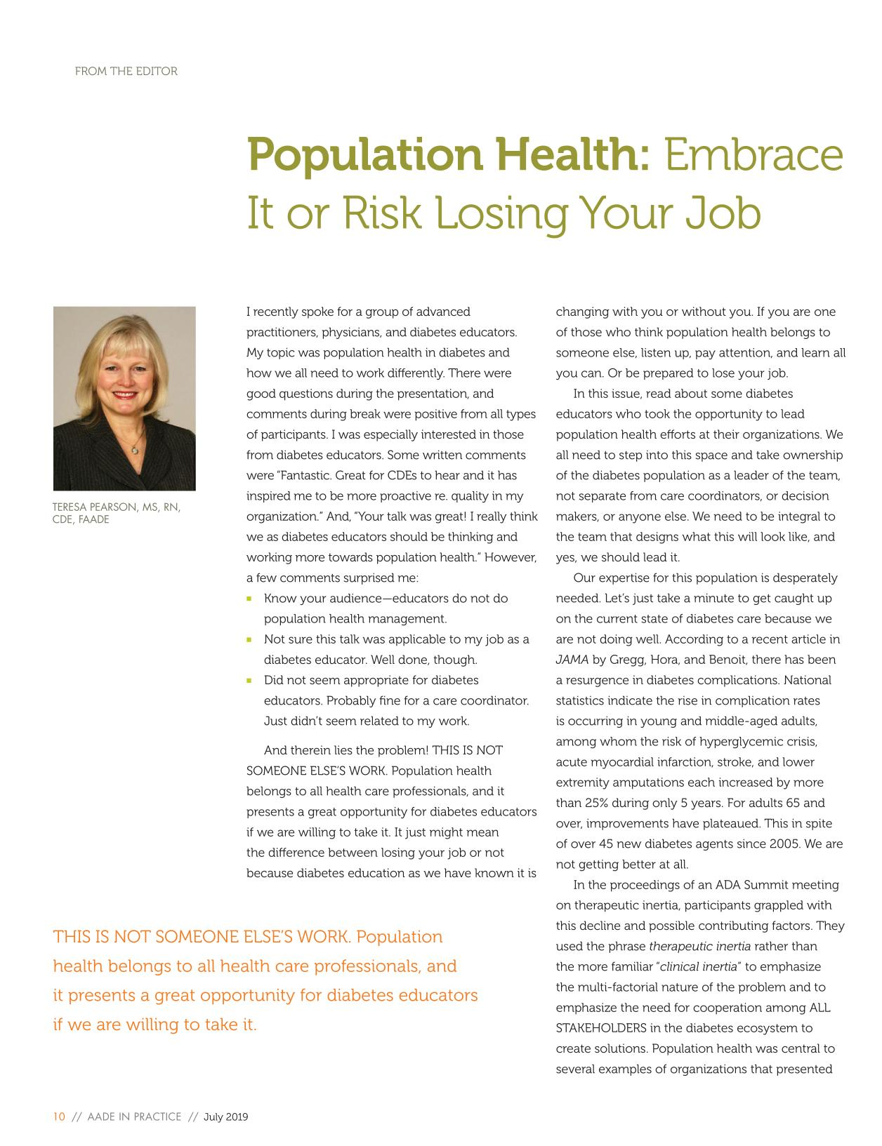 Book cover Population Health: Embrace It or Risk Losing Your Job