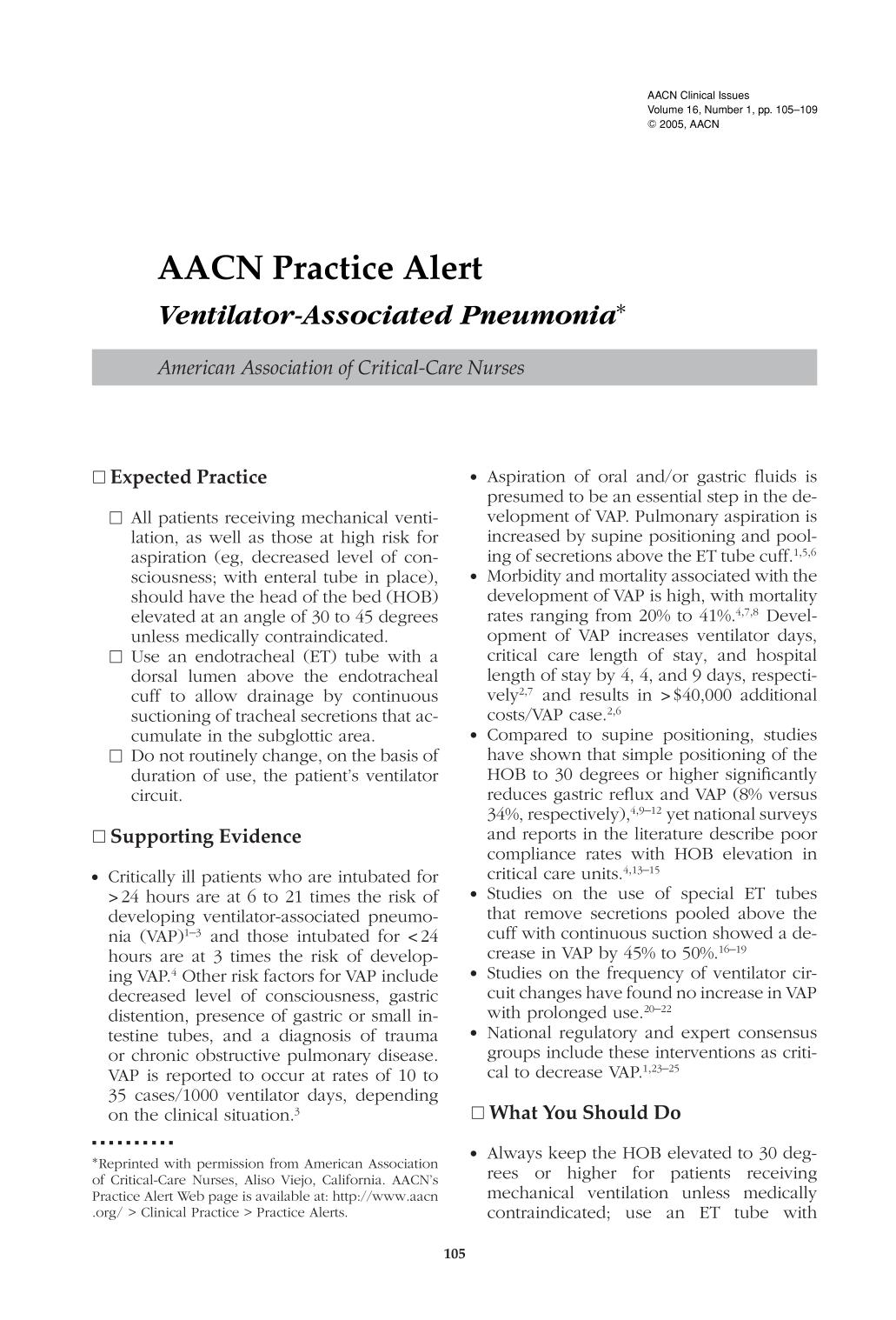 Couverture AACN Practice Alert