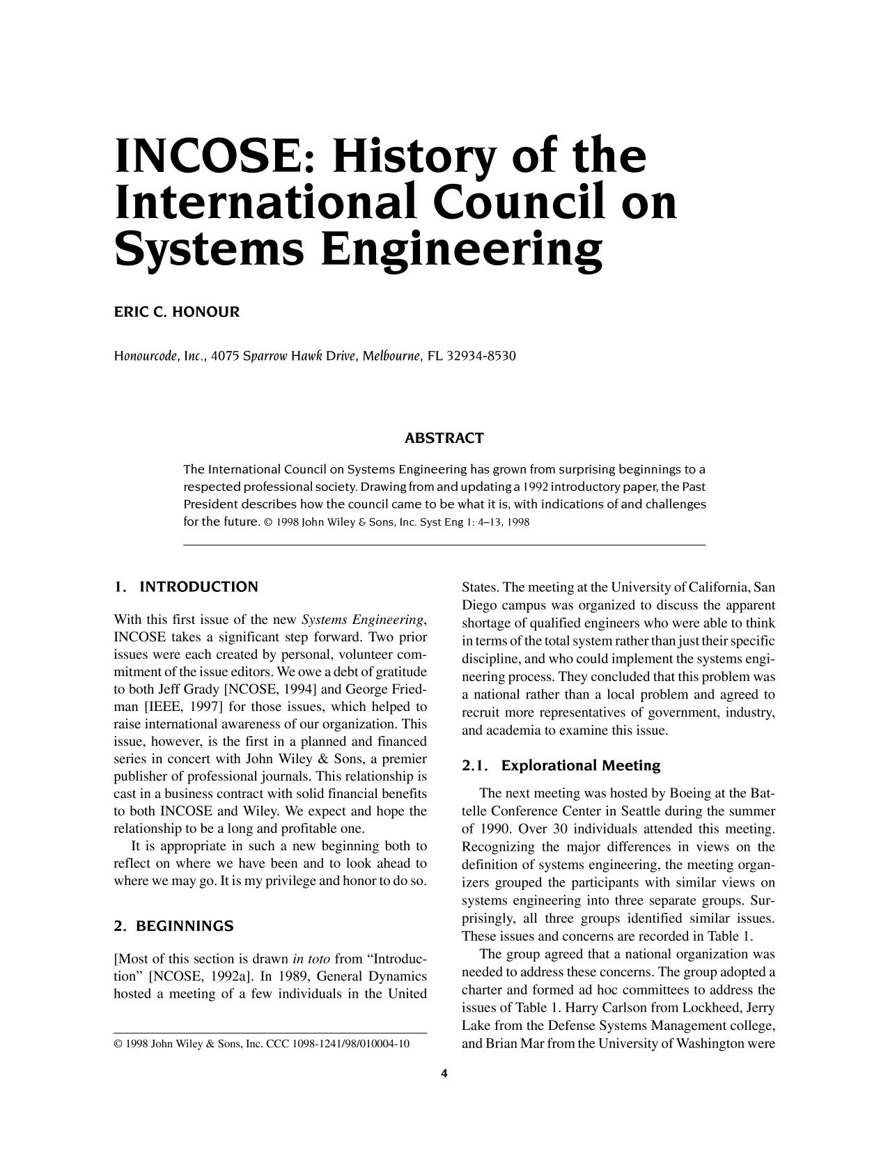 Book cover INCOSE: History of the International Council on Systems Engineering