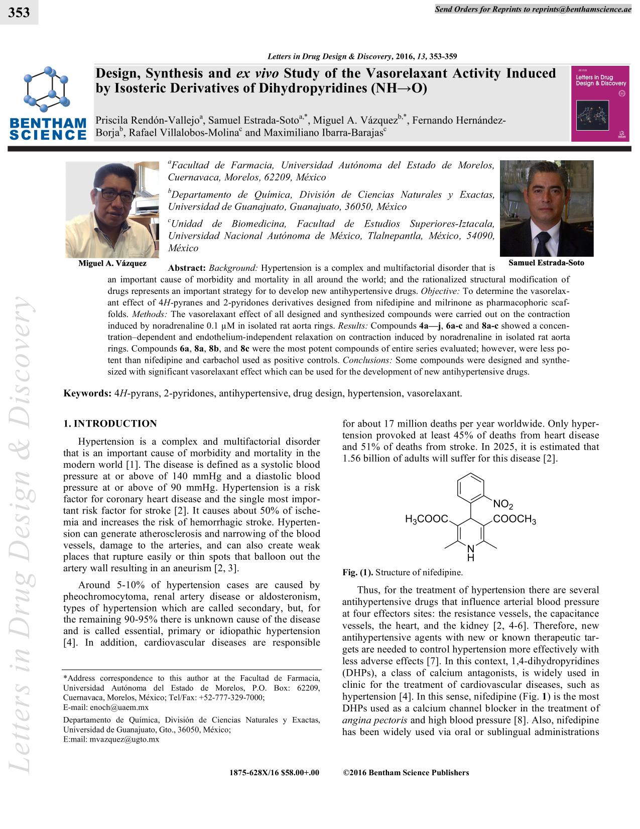 Portada del libro Design, Synthesis and ex vivo Study of the Vasorelaxant Activity Induced by Isosteric Derivatives of Dihydropyridines (NH→O)