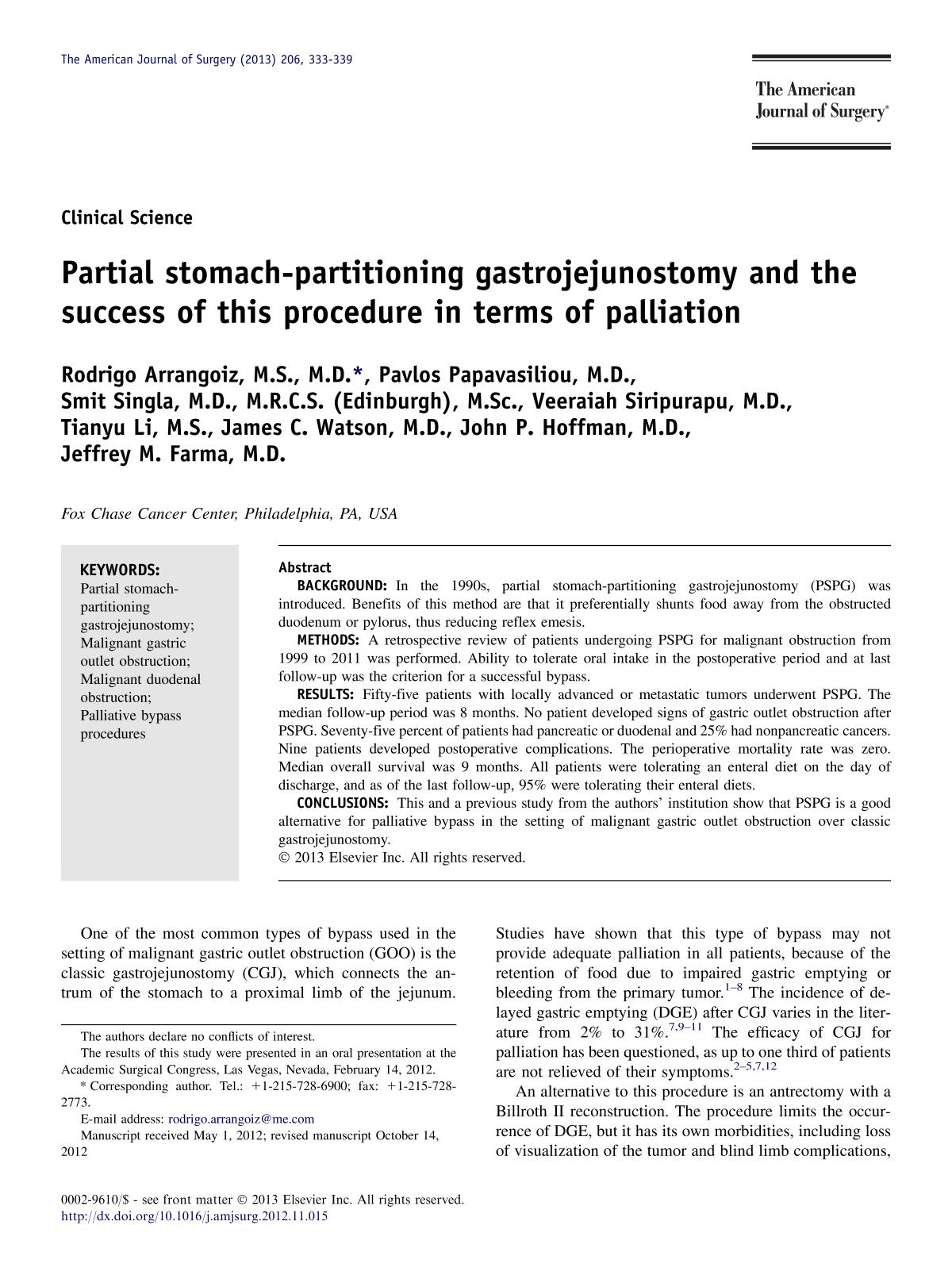 წიგნის ყდა Partial stomach-partitioning gastrojejunostomy and the success of this procedure in terms of palliation