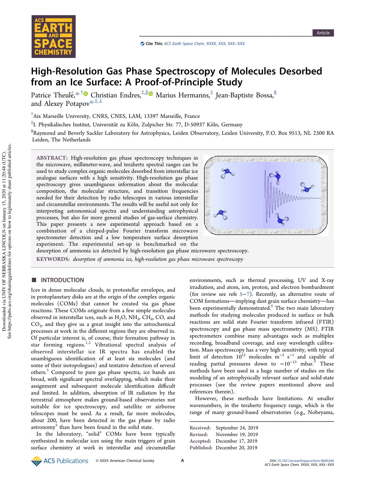 capa de livro High-Resolution Gas Phase Spectroscopy of Molecules Desorbed from an Ice Surface: A Proof-of-Principle Study
