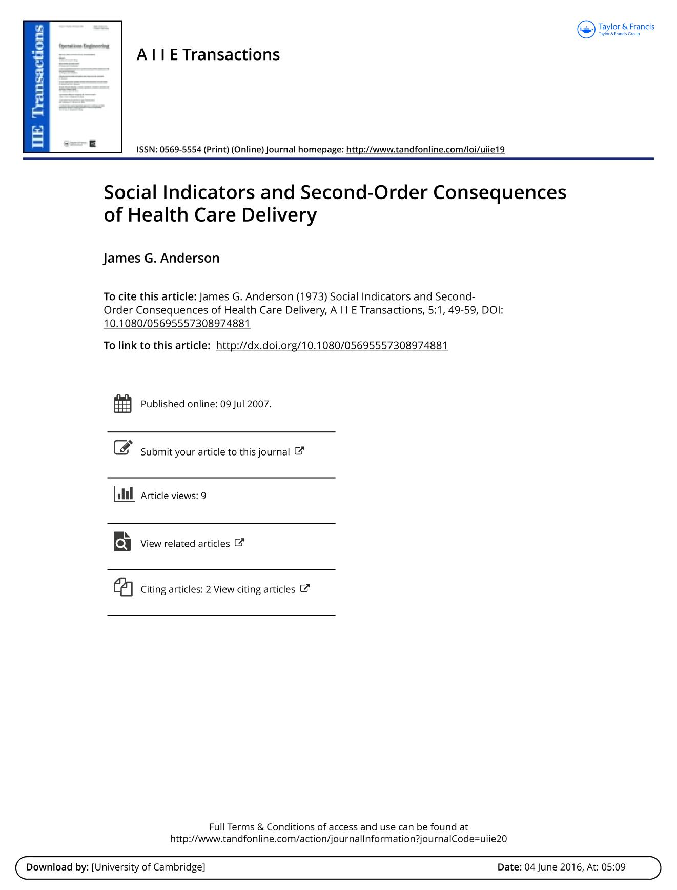 Book cover Social Indicators and Second-Order Consequences of Health Care Delivery