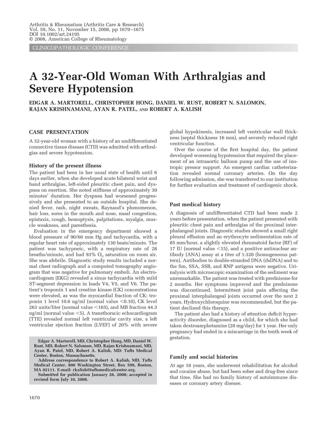 Обложка книги A 32-year-old woman with arthralgias and severe hypotension