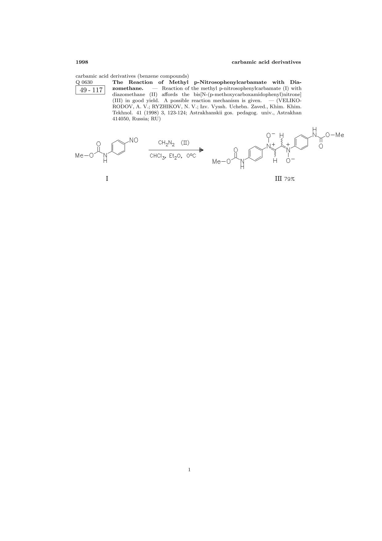 पुस्तक कवर ChemInform Abstract: The Reaction of Methyl p-Nitrosophenylcarbamate with Diazomethane.<span></span>