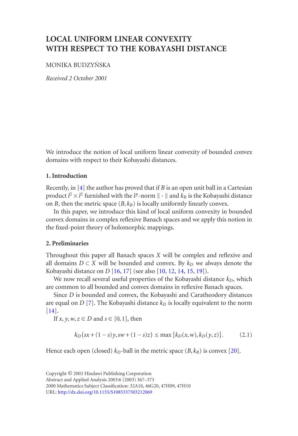 capa de livro Local uniform linear convexity with respect to the Kobayashi distance